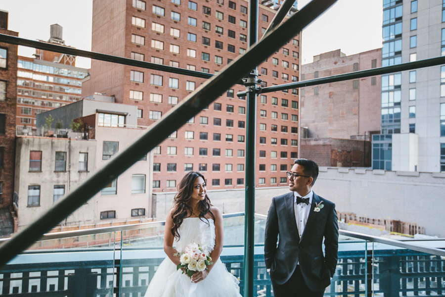 indie wedding couple on highline